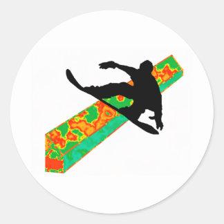 snowboard next slide classic round sticker
