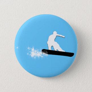 snowboard. powder trail. 2 inch round button