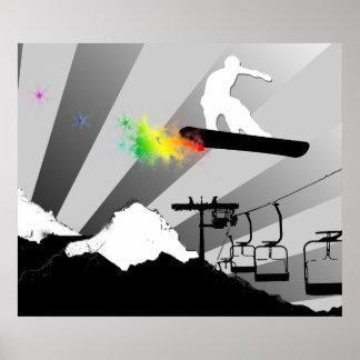 snowboard. powder trail. poster