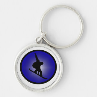 Snowboard Ready Zoned Silver-Colored Round Keychain