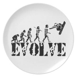 Snowboard Snowbording Sport Evolution Art Plate