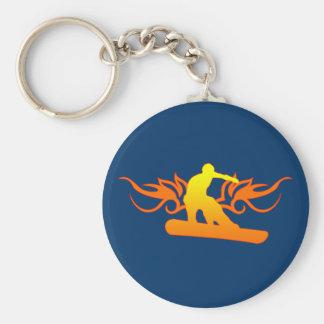 snowboard. tribal. keychain