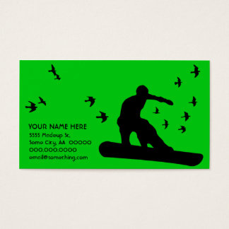 snowboard with birds business card