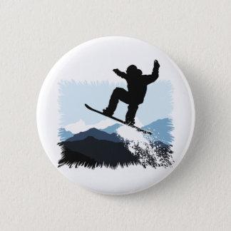 Snowboarder Action Jump 2 Inch Round Button
