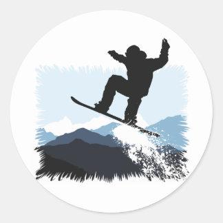 Snowboarder Action Jump Classic Round Sticker