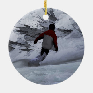 """Snowboarder """"Carving the Mountain"""" Winter Sports Round Ceramic Ornament"""