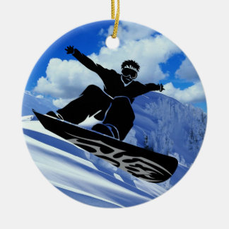snowboarder ceramic ornament