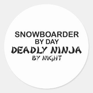 Snowboarder Deadly Ninja by Night Round Sticker