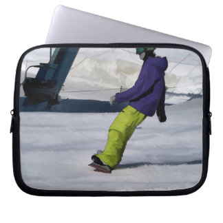 Snowboarder Finishing a Downhill Run Laptop Sleeve