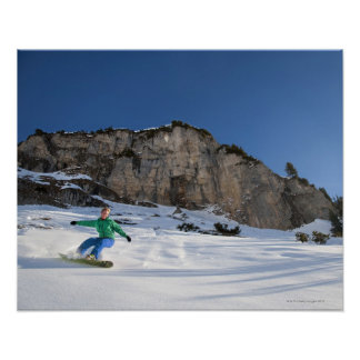 Snowboarder free riding poster