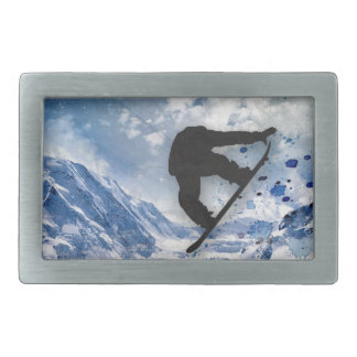 Snowboarder In Flight Belt Buckle