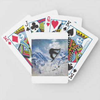 Snowboarder In Flight Bicycle Playing Cards