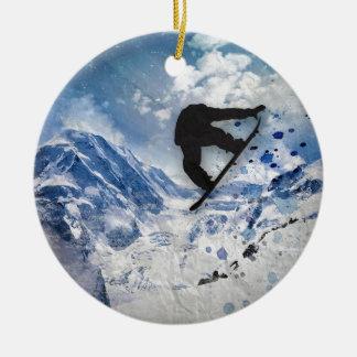 Snowboarder In Flight Ceramic Ornament