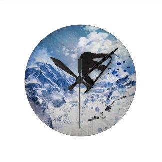Snowboarder In Flight Clock