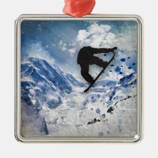 Snowboarder In Flight Metal Ornament