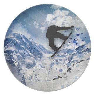 Snowboarder In Flight Plate
