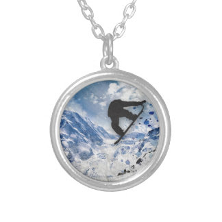 Snowboarder In Flight Silver Plated Necklace