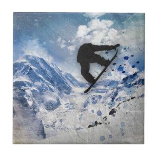 Snowboarder In Flight Tile