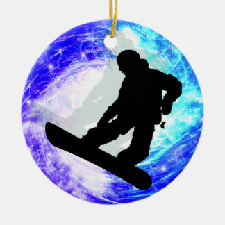 Snowboarder in Whiteout Round Ceramic Ornament