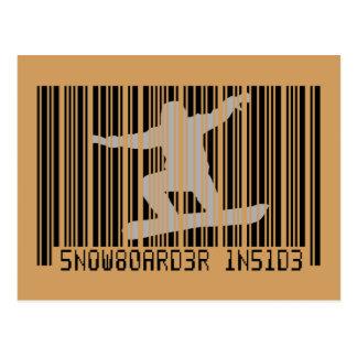SNOWBOARDER INSIDE Barcode Postcard