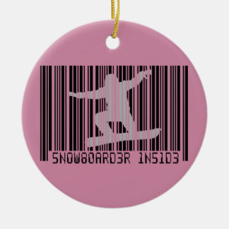 SNOWBOARDER INSIDE Barcode Round Ceramic Ornament