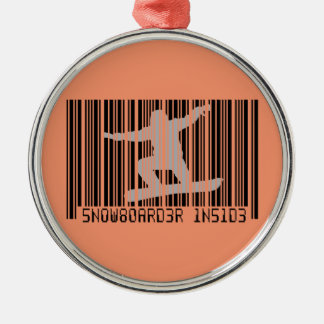 SNOWBOARDER INSIDE Barcode Silver-Colored Round Ornament