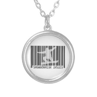 SNOWBOARDER INSIDE Barcode Silver Plated Necklace