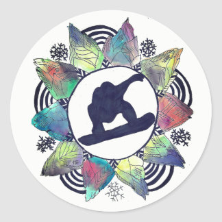 Snowboarder Mountain Flower Classic Round Sticker