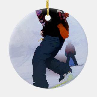 Snowboarder Moves Round Ceramic Ornament