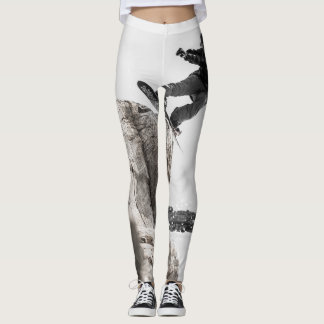 Snowboarder on Leggings Gray and White