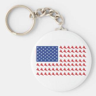 Snowboarder-Patriotic-Flag Basic Round Button Keychain