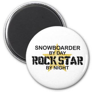 Snowboarder Rock Star by Night 2 Inch Round Magnet