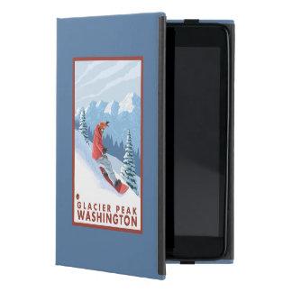 Snowboarder Scene - Glacier Peak, Washington Cover For iPad Mini