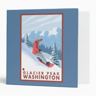 Snowboarder Scene - Glacier Peak, Washington Vinyl Binder