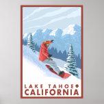 Snowboarder Scene - Lake Tahoe, California Poster