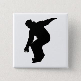 Snowboarder Silhouette 2 Inch Square Button