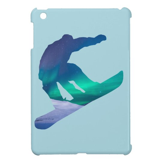 Snowboarder Silhouette Northern Lights iPad Case