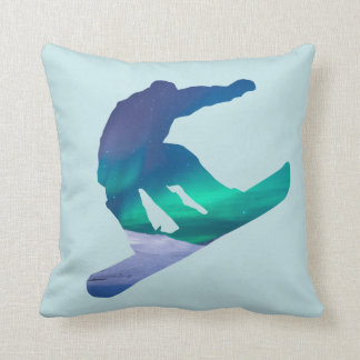 Snowboarder Silhouette Northern Lights Pillow