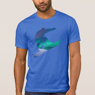 Snowboarder Silhouette Northern Sky Lights T-Shirt