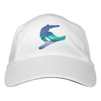 Snowboarder Silhouette Northern Winter Lights Hat