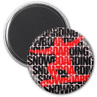 Snowboarding #1 (blk) 2 inch round magnet