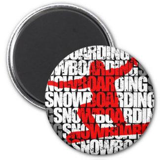 Snowboarding #1 (wht) 2 inch round magnet
