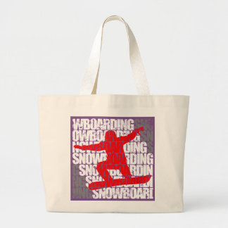 Snowboarding #1 (wht) large tote bag