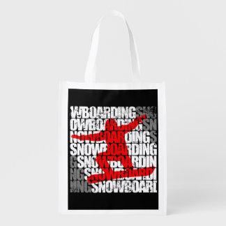Snowboarding #1 (wht) reusable grocery bag