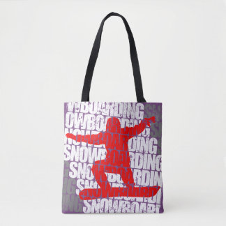 Snowboarding #1 (wht) tote bag