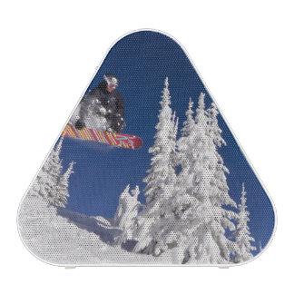 Snowboarding action at Whitefish Mountain Resort Bluetooth Speaker