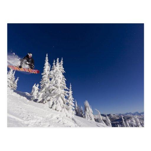 Snowboarding action at Whitefish Mountain Resort Postcard