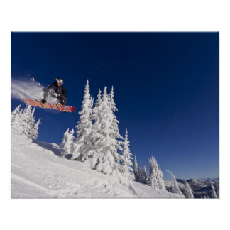 Snowboarding action at Whitefish Mountain Resort Poster
