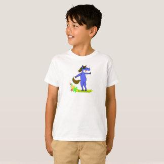 Snowboarding blue horse boys shirt