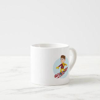 Snowboarding boy cartoon espresso cup